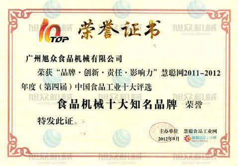食品机械十大品牌证书